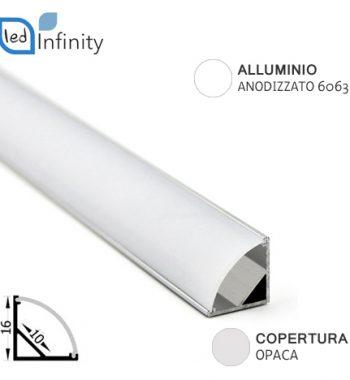 profilo alluminio angolare 2mt per strisce led con copertura opaca