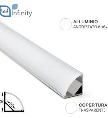 profilo alluminio angolare 2mt per strisce led con copertura trasparente