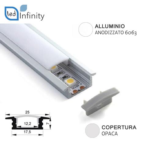 profilo alluminio da incasso 2mt per strisce led con copertura opaca