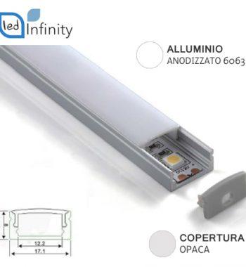 profilo alluminio lineare 2mt anodizzato 6063 strisce led
