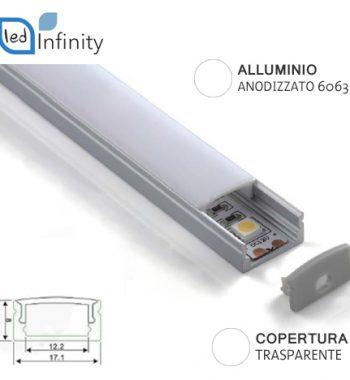 profilo alluminio lineare 2mt per strisce led con copertura trasparente